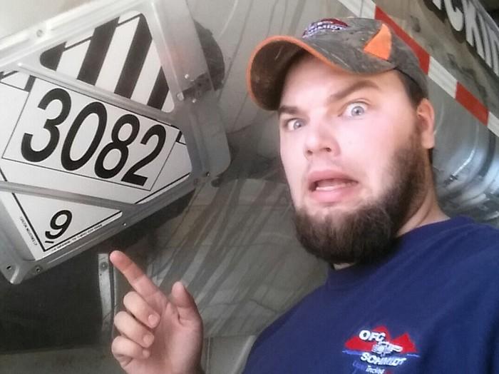 Liquid Trucking Selfie - Morgan's silly face