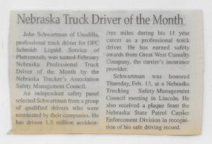 He received Nebraska Truck Driver of the Month